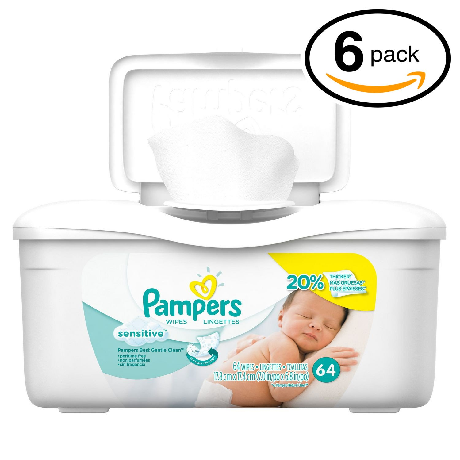 Pampers Baby Wipes Tub, Sensitive - 64 Wipes/Tub (6-Pack/384 Count, Pampers Sensitive)