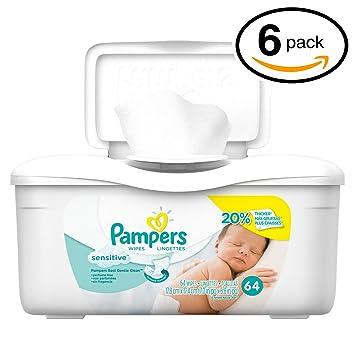 Pampers Baby Wipes Tub, Sensitive - 64 Wipes/Tub (6-Pack/