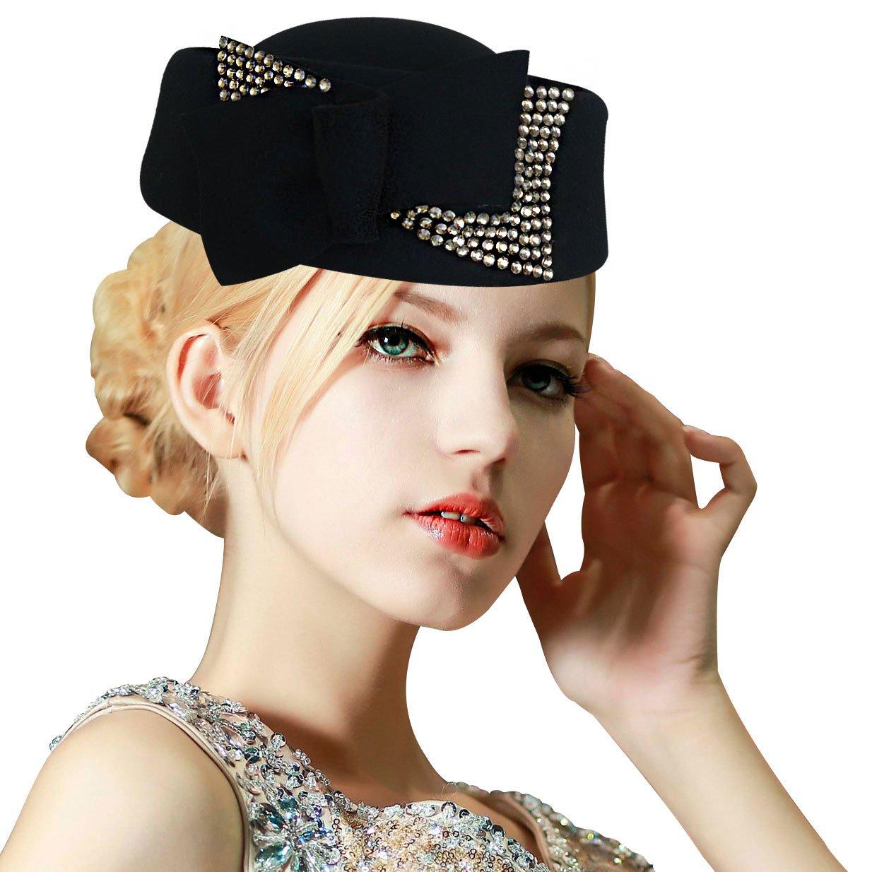 Ladies Rhinestone Teardrop Fancy Wool Fascinator Cocktail Pillbox Cap Hat A254 (Black) by Lawliet