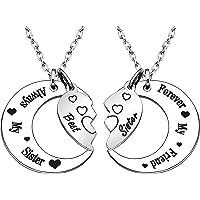 2 collares para hermana, collares para la luna para mejores amigos, regalos de Navidad, regalos de cumpleaños, regalo de Acción de Gracias