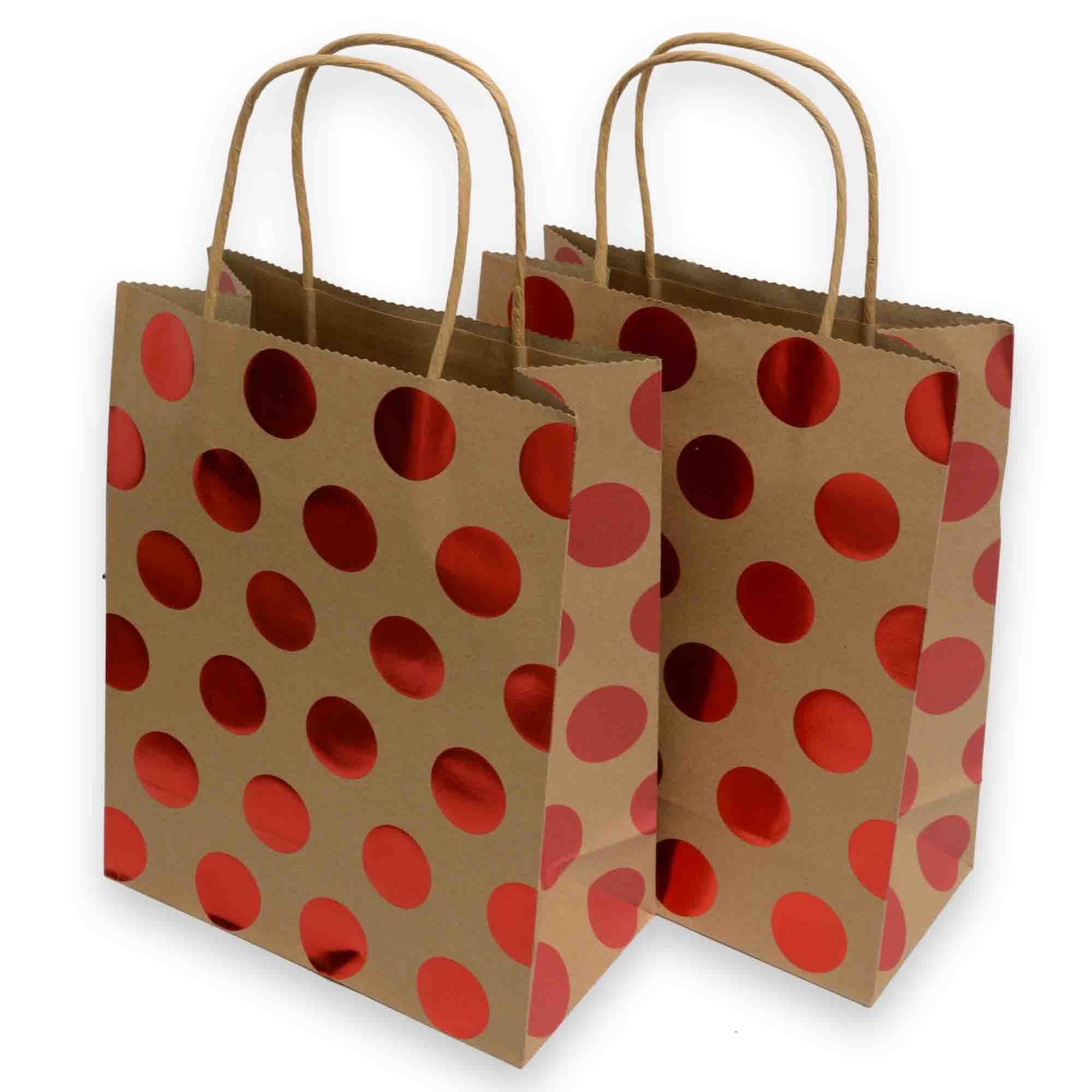 16 X 12 Custom Printed Kraft Paper Wedding Gift Bags: Amazon.com: Kraft Gift Bags, Foil Hot-stamp Polka-dot