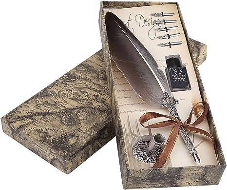 Antike Feder Quill Feather Quill Pen Set Vintage Federstift Tinte Set Antike