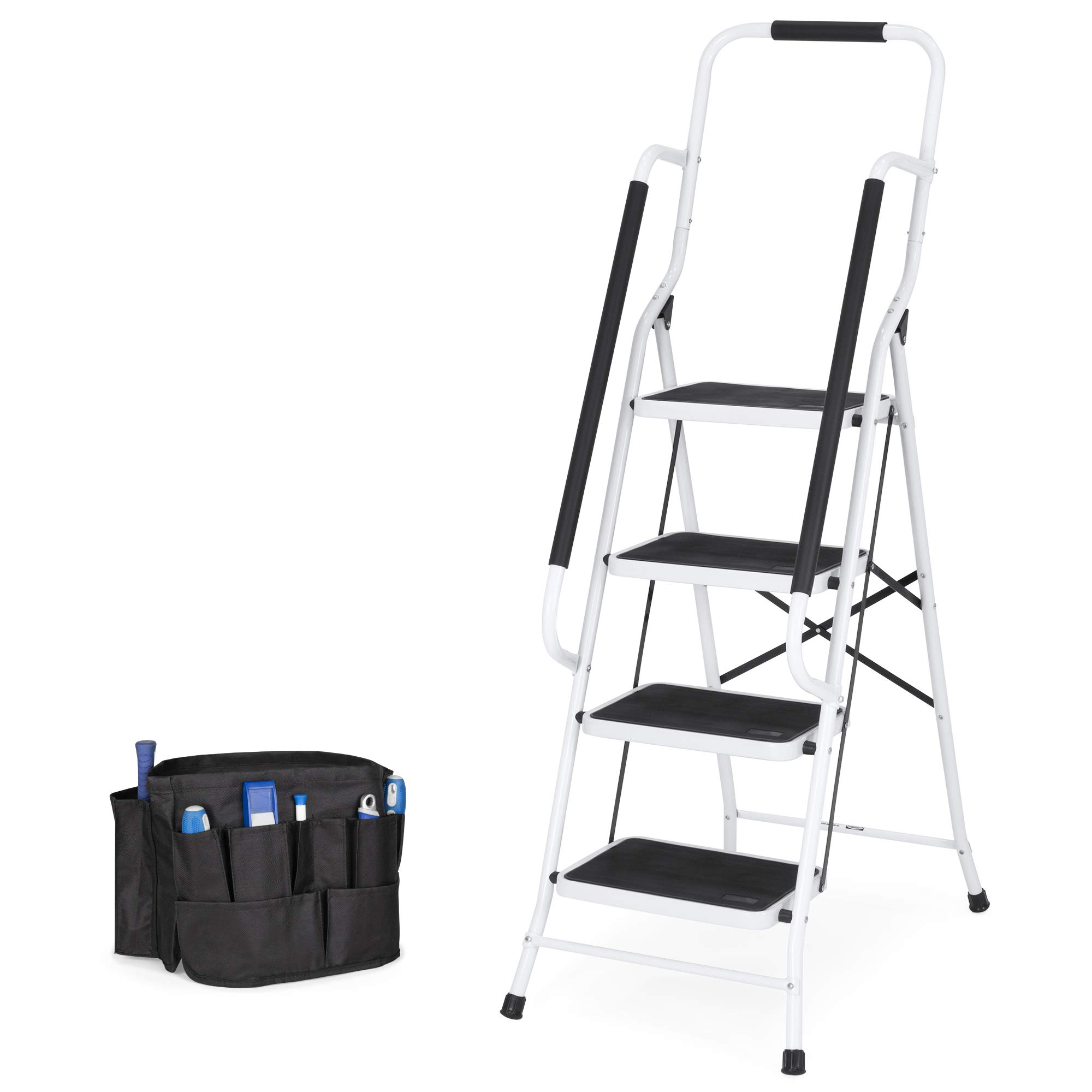 Best Choice Products 4-Step Folding Ladder w/Padded Handrails, Attachable Tool Bag by Best Choice Products