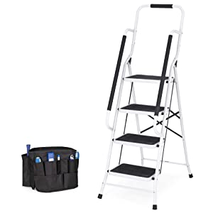 Best Choice Products 4-Step Portable Folding Anti-Slip Steel Safety Ladder w/Padded Handrails, Attachable Tool Bag, Knee Rest - White