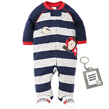 b6de5e570c Image Unavailable. Image not available for. Color  Little Me Football  Monkey Blanket Sleeper Warm Fleece Footie ...