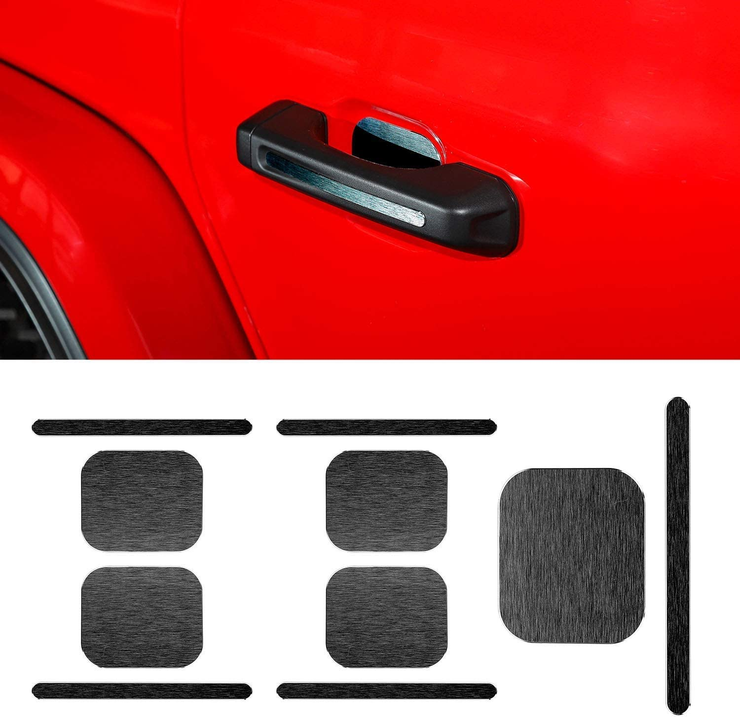 Red) 2018 for Jeep Wrangler JL Door Handle Inserts Cover Trim for 2018 Jeep Wrangler JL Unlimited