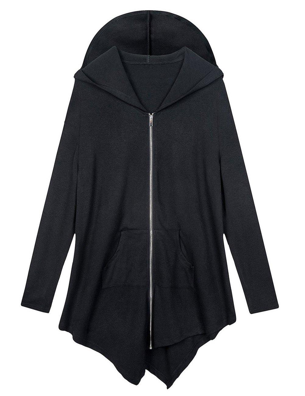 AMZ PLUS Women Plus Size Lightweight Full Zip Up Hooded Sweatshirt Hoodie Jacket Black L
