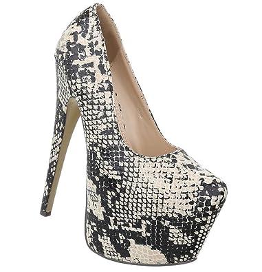 98eb07550b9a2b Damen Schuhe Pumps Stiletto High Heels Metallic Party Schuhe Glitzer  Abendschuhe Hochzeitsschuhe Pfennigabsatz Plateau Beige Multi