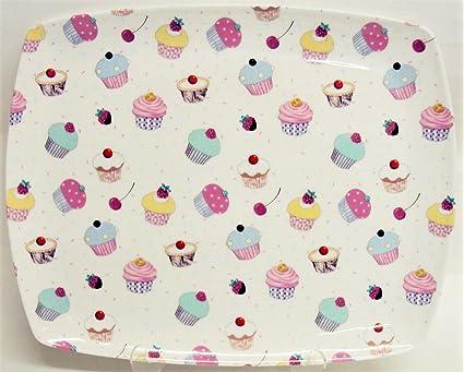 Hada con cupcakes bandeja porcelana Cupcakes Cuadrado rectangular Bandeja para servir decorado a mano en el