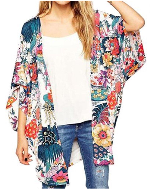 Relipop Women's Sheer Chiffon Blouse Loose Tops Kimono Floral Print Cardigan (XX-Large, Colorful)