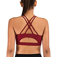 HEH Women Strappy Padded Sports Bra, Crisscross Wire-Free Active Yoga Bras with Medium Support, Fashionable Sexy Yoga…