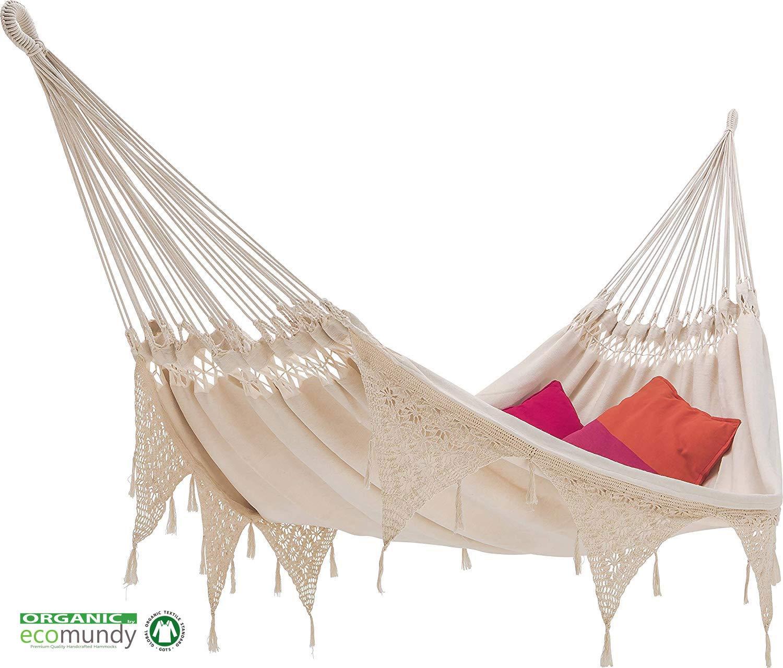 ECOMUNDY IBIZA - Amaca lusso con frange, stile BOHO - doppio - cotone BIO - 160x240x380cm 250kg