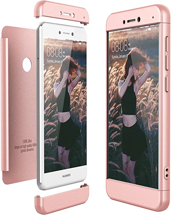 CE-LINK Coque Huawei P8 Lite 2017 Housse Etui Anti-égratignures Solide Plastique Coque Cover pour Huawei P8 Lite 2017 Anti Choc - Rose Gold