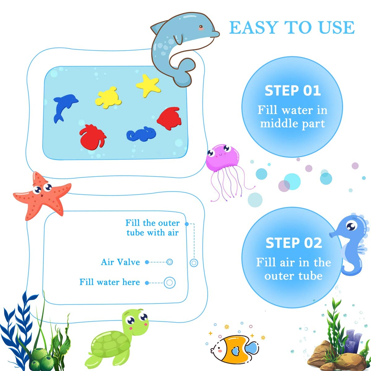 Inflatable Kids Mat Tummy Time Mat and Toddlers Child Development Accessory Fun Entertaining for Activity Center Early Development Tencoz Water Play Mat