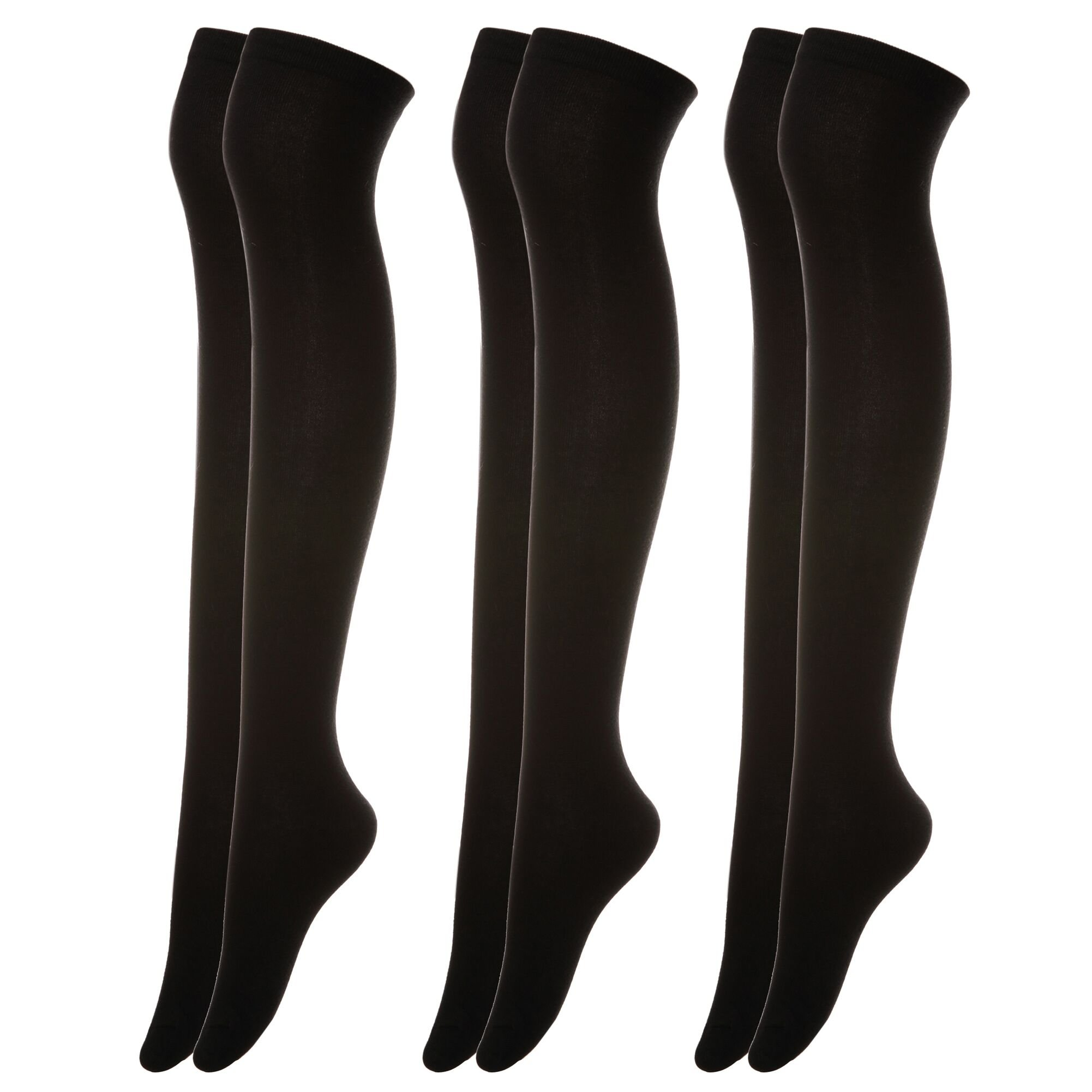 YEBING 3 Pack Women Girls Knee High Cotton Socks Boot Thigh High Stocking Leg Warmer (Black)