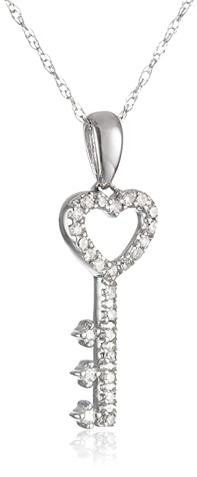 Amazon 10k white gold diamond key pendant 110 cttw i j color 10k white gold diamond key pendant 110 cttw i j color i2 aloadofball Images