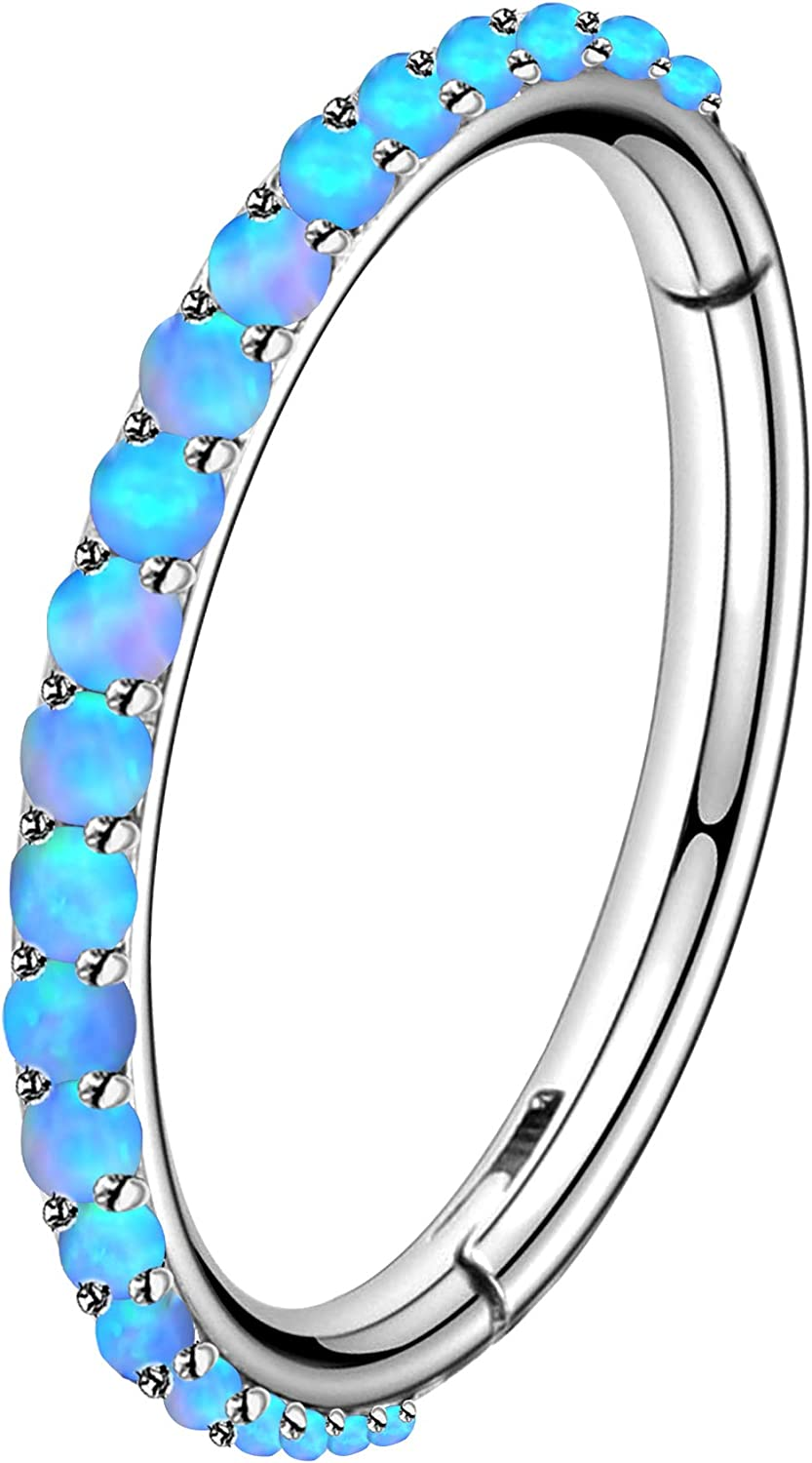 OUFER Cartilage Earring Hoop 16G Stainless Steel with White/Blue/Pink Opal Paved Helix Conch Lip Septum Piercing Jewelry