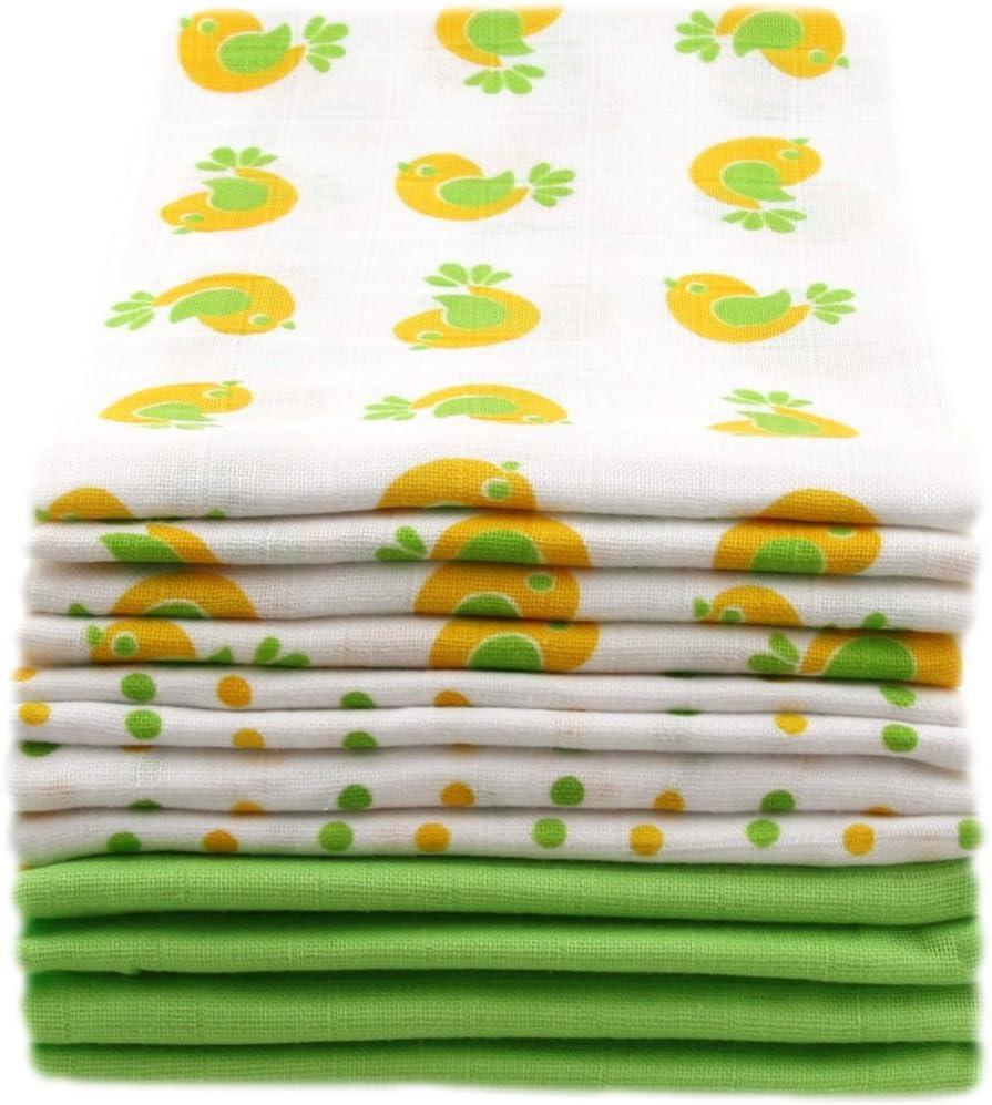 MuslinZ 12PK 100/% Pure Cotton Baby Muslin Squares 70x70cms Green Bird