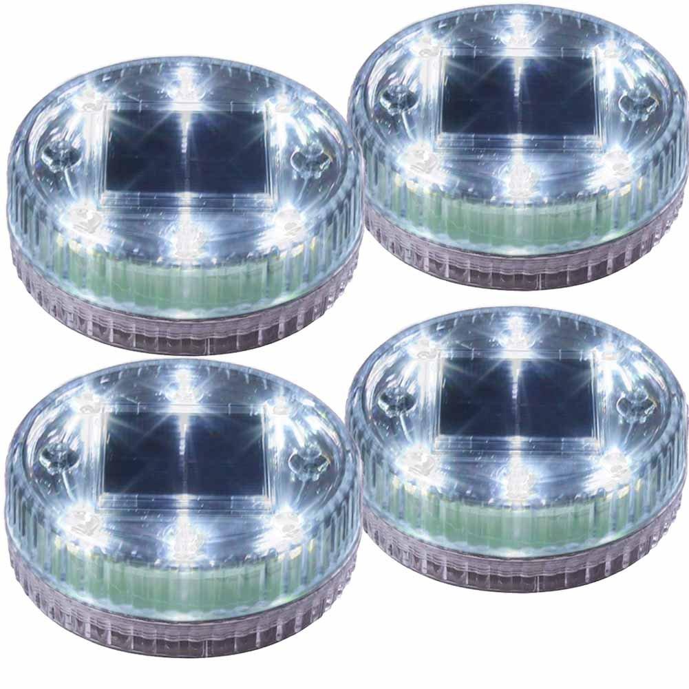 POPPAP Pond Lights Water Floating Solar Light 6 LED Round Ground Landscape Lamp 4 PACK White Lighting