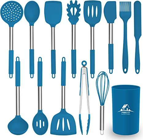 Mibote Kitchen Utensils Set 14 Piece Silicone Cooking Utensils Set With Heat Resistant Bpa Free Silicone And Stainless Steel Handle Turner Spoon Tongs Kitchen Utensils Set Blue Amazon De Kuche Haushalt
