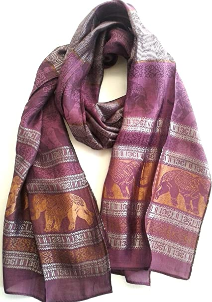 Gold Raw Thai Silk Scarf Lightweight Long Slender Fair Trade Handmade Gift New