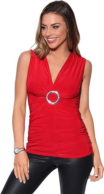 KRISP Top Mujer Original Elegante Camiseta Fruncido Blusa Tallas Grandes Camisa Fiesta: Amazon.es: Ropa y accesorios