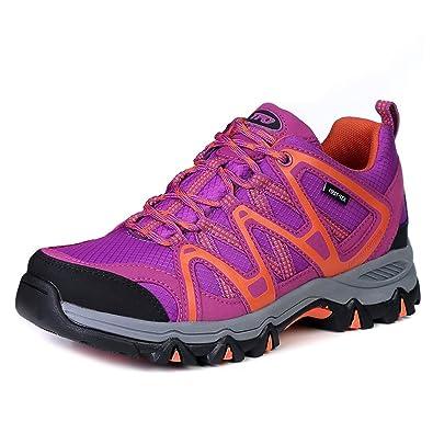 TFO Damen Wasserdichte Trekkingschuhe & Wanderschuhe Atmungsaktive und Leichte Bergschuhe & Outdoor Schuhe mit gedämpfte Sohle, Violett/Orange, 40 EU