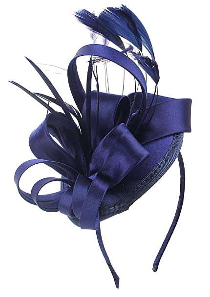 Felizhouse Fascinator Hats for Women Ladies Feather Cocktail Party Hats  Bridal Headpieces Kentucky Derby Ascot Fascinator 9f869c4d717