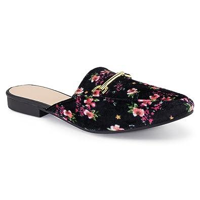 3fec335af07a2 RF ROOM OF FASHION Women's Low Stacked Heel Backless Slip On Loafer Slides  Mule Flats