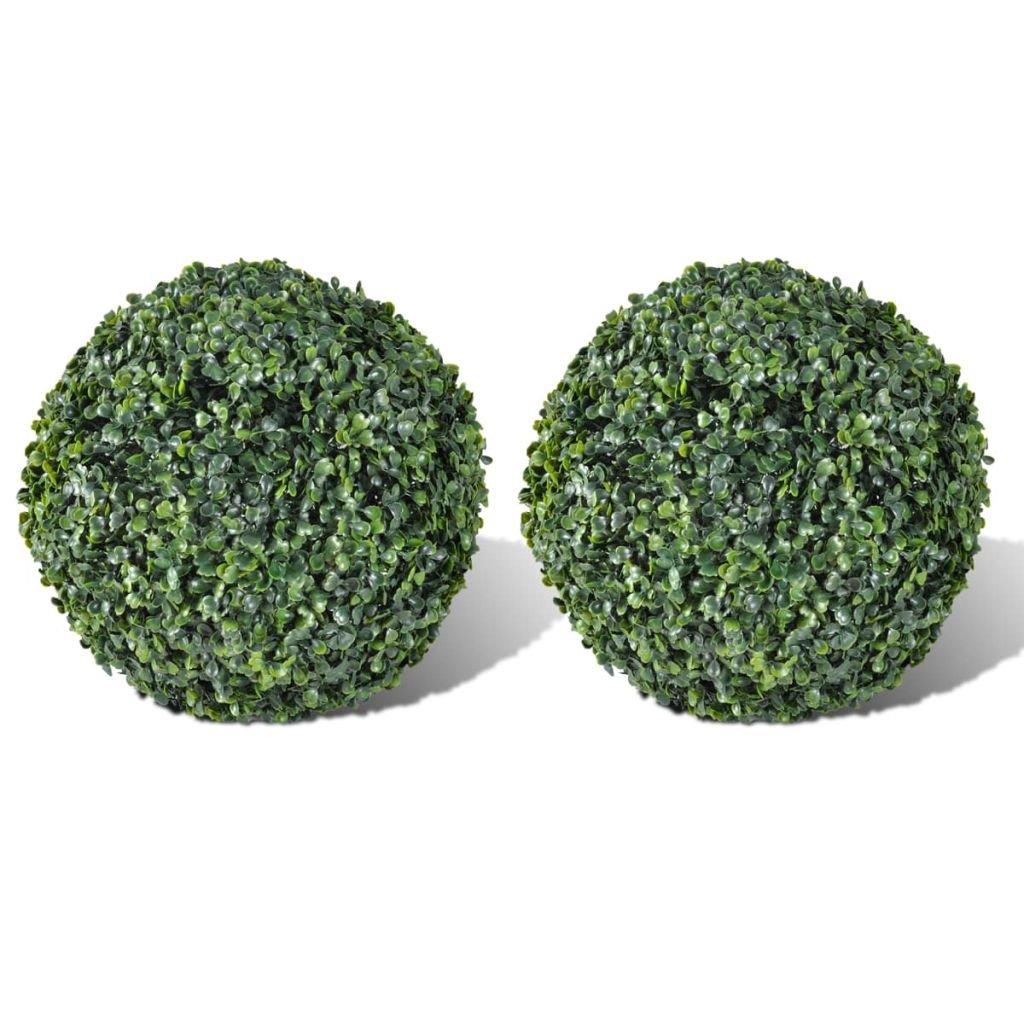 vidaXL Bola de Boj Hoja Artificial Bola del Arte de Recortar 27 cm 2 piezas Arte Árbol