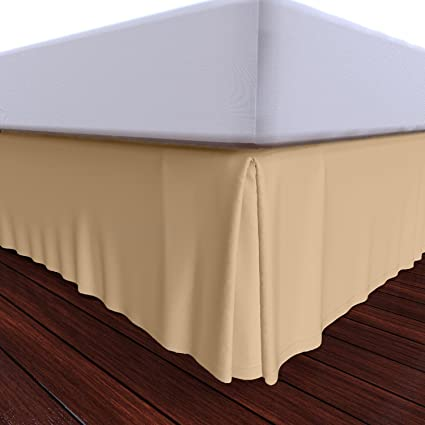 Charmant Bed Skirt By Royal   100% Cotton Pleated Bed Skirt (Queen, Beige)
