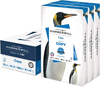 product image for Hammermill Printer Paper, 20 lb Copy Paper, 8.5 x 14 - 3 Ream (1,500 Sheets) - 92 Bright, Made in the USA