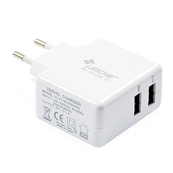 Enchufe / Cargador de pared con entrada USB | 2 puertos USB de 5V - Cargador universal USB para Smartphones, Tablets, Sistemas de navegación, ...