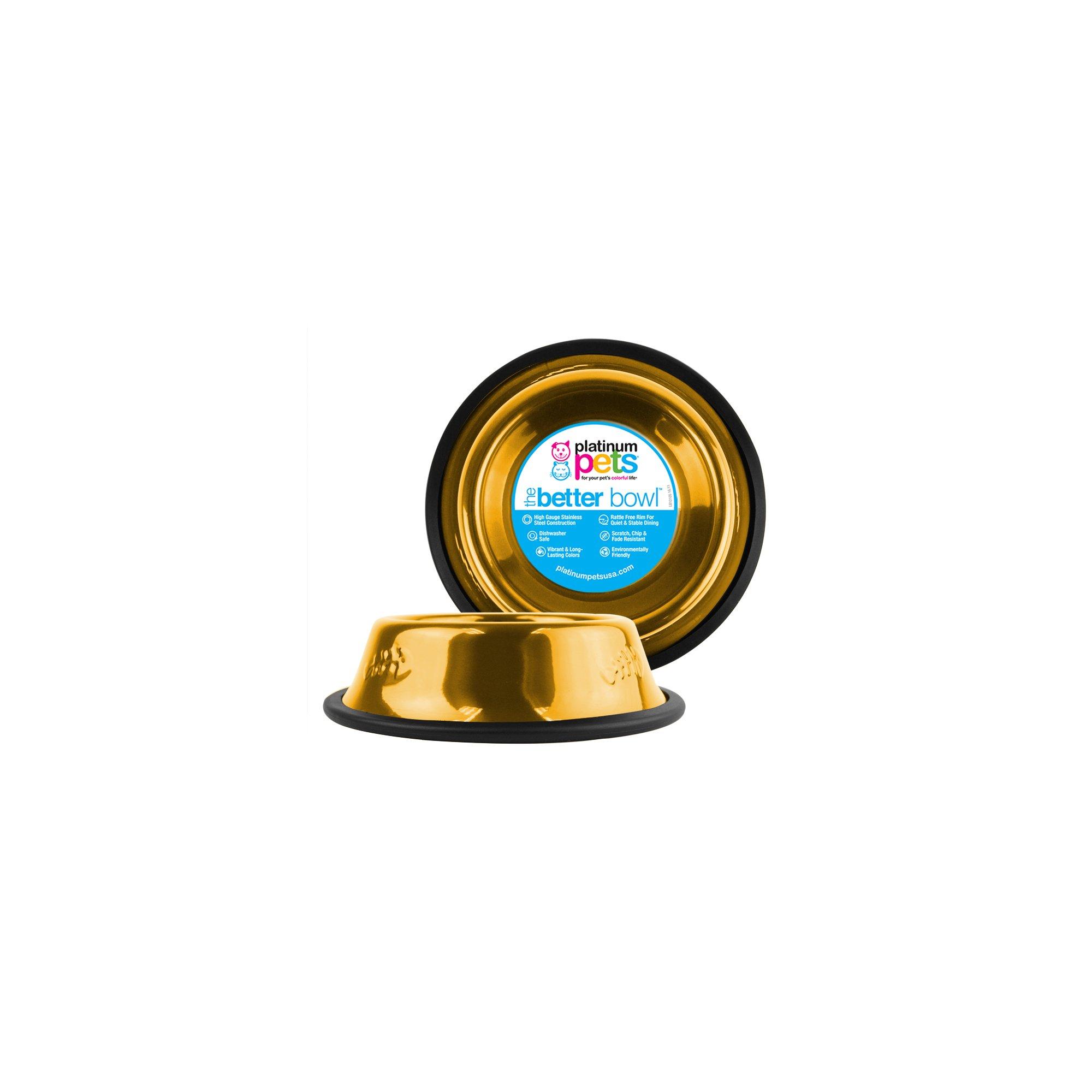 Platinum Pets Non-tip Stainless Steel Cat Bowl, 6 oz, Gold by Platinum Pets