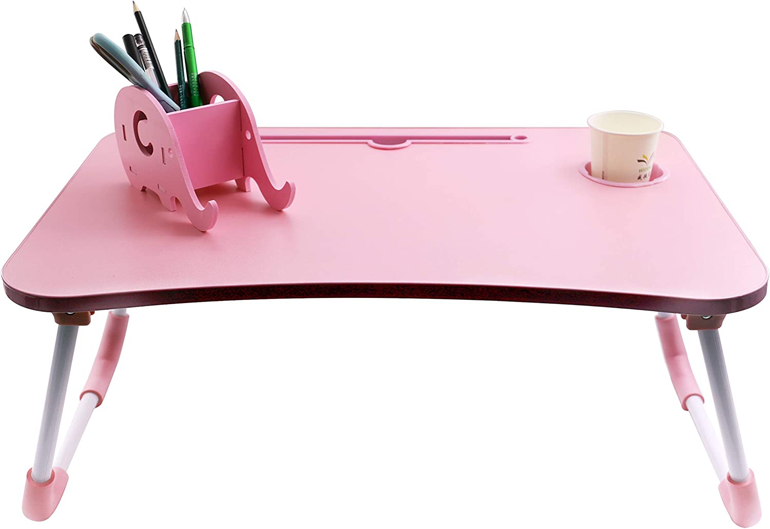 "Foldable Bed Desk Laptop Lap Tray Table Couch Floor Multifunction | Study Eating | Drawer Cup Holder + Pen Holder with Cellphone Stand | Wood Lap Desk & Metal Legs | 24""x16""x12"" Set 2 pcs (Pink)"