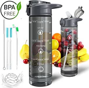 Sports Water Bottle with Straw,28oz Water Bottle with Time Marker,Locking One-Click Push Button Sports Bottle for Camping,Bike,Hiking,Travel,Fitness,Outdoor-Leak Proof Tritan BPA Free Water Bottle