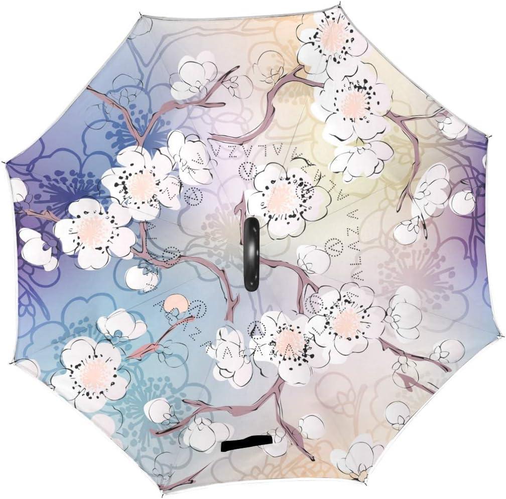 des parapluies Coupe-Vent invers/és pour Fleurs de Cerisier Rapides pour Pluie ext/érieure Double Couche invers/ée avec Une poign/ée en Forme de C