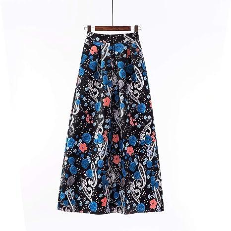 ZQQ Nueva Falda Retro para Mujer con Bolsillo Impresión ...