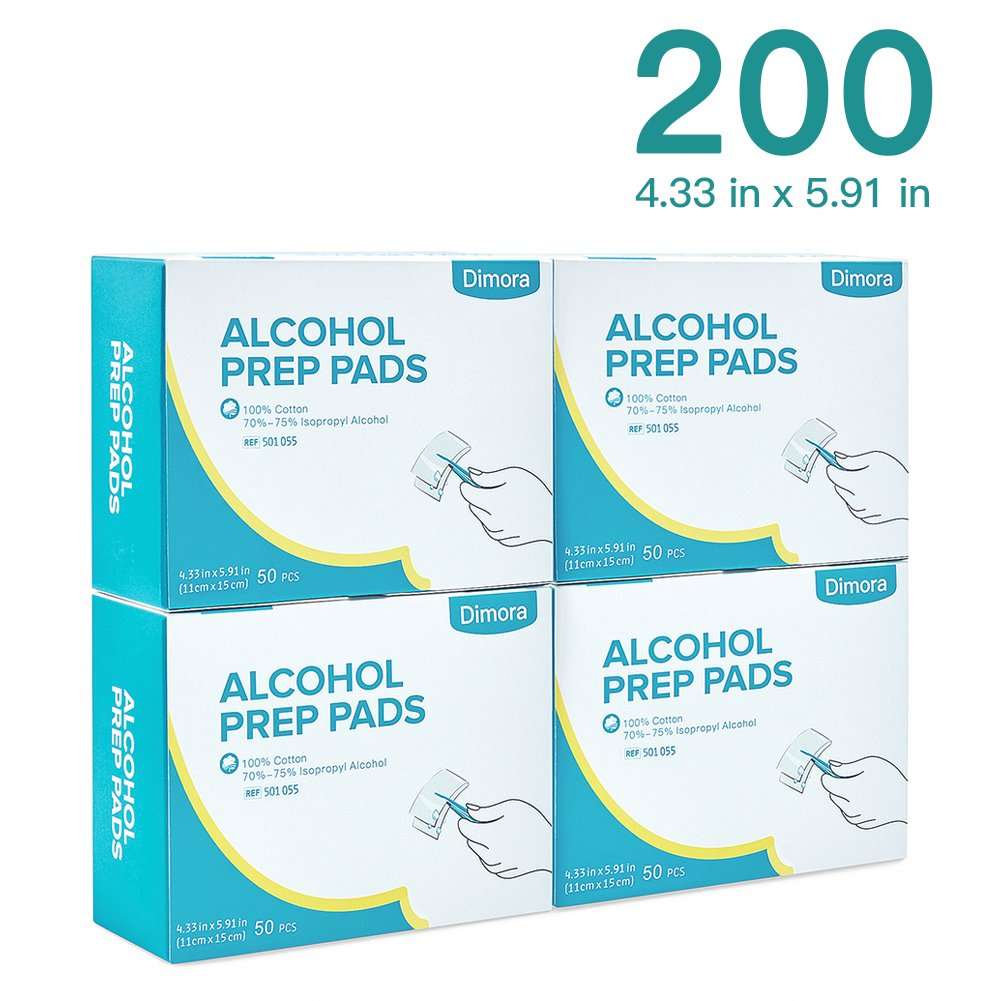Dimora Large Size Sterile Alcohol Prep Pads,Square Cotton Pads, Individually Sealed, 4.33'' X5.91''200 Pcs/Set by Dimora