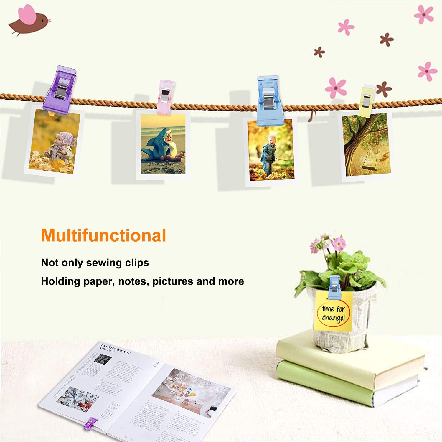 Sewing Clips and Quilting Clips,100 pcs Sewing Fabric Clips with Wedding Tin Box Package Perfect for Sewing Binding,Crafts,Paper Work and Hanging Little Things