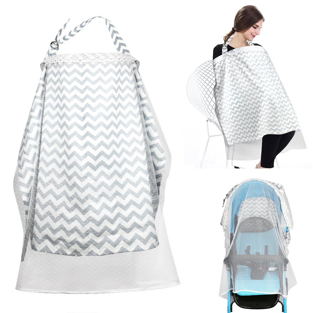 Accmor Baby Car Seat Canopy, Multi-use Breathable Cotton Nursing Cover with Mosquito Nets, Baby Stroller Cover Premium Weather and Insect Shield, Full Coverage, Rigid Neckline for Mother