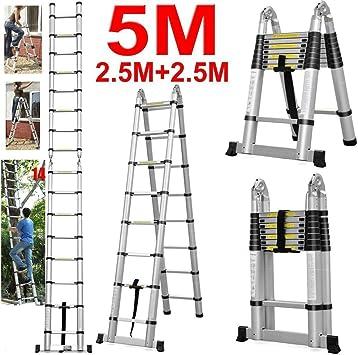 Plegable extensible 5 m/2,5 + 2,5 m multiusos escalera telescópica de aluminio 8 + 8 Peldaños: Amazon.es: Bricolaje y herramientas