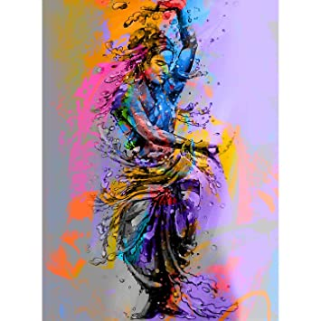 Stickme Indian Classical Dance Bharatanatyam Woman Dancer Creative Wall Art Canvas Painting Sm3036 Fabric 60 X 45 Cm Rolled Pack
