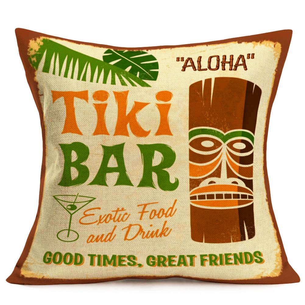 "Hopyeer Tiki Bar Decor Throw Pillow Cushion Cover, Vintage Polynesian Statue with Tropical Drink Funny Quote Words Design Cotton Linen Pillowcase for Home Sofa Live Room 18""x18"" (Tiki Bar)"