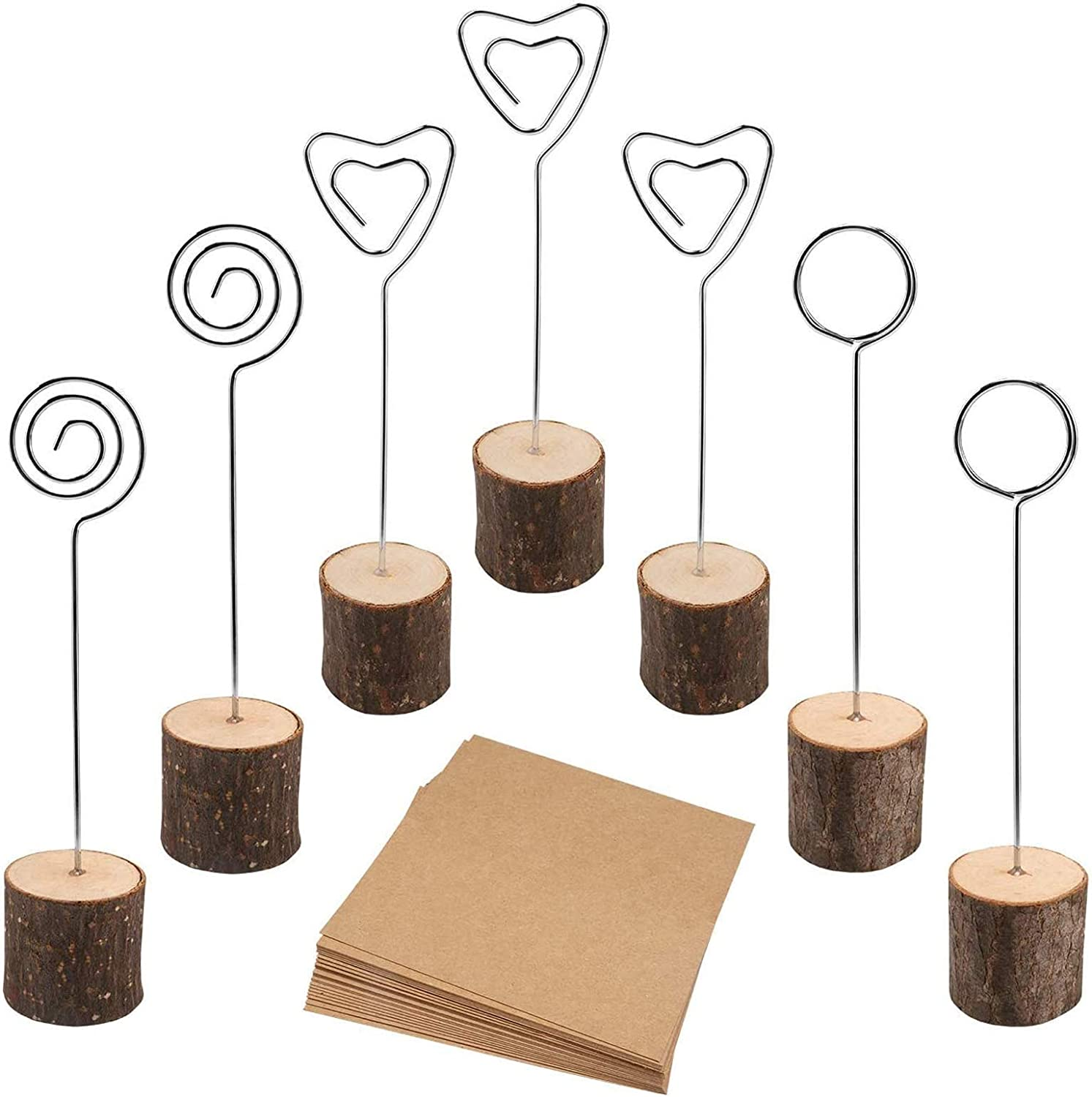 muscccm Rustic Wood Place Card Holder, Photo Picture Note Clips with Swirl Wire Wooden Table Number Stands & 25 pcs Kraft Place Cards Bulk ,Best Choice for Wedding Home Party Table Number Name Label