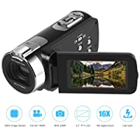 Camera Camcorder Full HD 1920 x 1080P 2.7inch 24M Portable Anti-shake Digital Video Camcorder, Touch Screen, 270 Degree Rotation, DV Digital Cameras