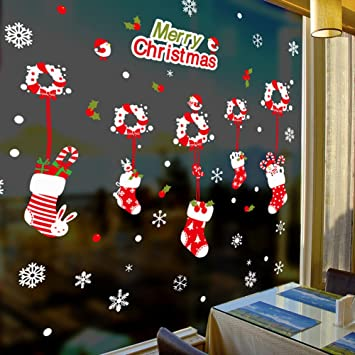 christmas windows stickers seasonal christmas window decorations decals removable snowflake for home supermarket dress shop - Christmas Window Decorations Amazon