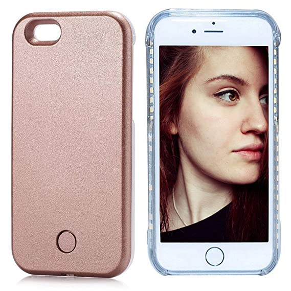 cheap for discount e31d6 22474 FULLOPTO Iphone 6 6s Plus LED Light Case, Selfie Led Phone Case with Led  Illuminated Rechargeable Light for 6/6s Plus (Rose Gold)