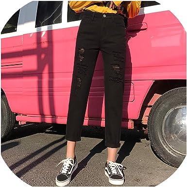 Intouchables Mom Jeans Pantalones Vaqueros Para Mujer Cintura Alta Color Beige Negro Azul Talla 5xl Negro Desgarrado 29 Amazon Es Ropa Y Accesorios