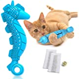 Ronton Cat Toothbrush Catnip Toy - Durable Hard Rubber - Cat Dental Care, Cat Interactive Toothbrush Chew Toy (1Pack-Seahorse